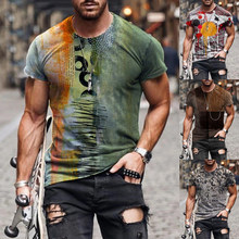 Abstract Printed Casual Tops Men New Fashion Summer Slim Short Sleeves Tops Round Neck T-Shirts Plus Size