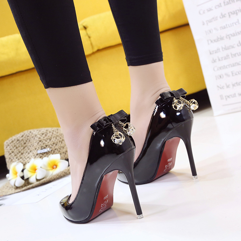 2018 Spring And Autumn New Women's Single Shoes Korean Fashion Pointed High Heels Wild Shallow Mouth Bow Women's Shoes