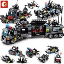 8 Stks/partij 695Pcs City Politie Swat Truck Bouwstenen Sets Schip Voertuig Technic Bakstenen Brinquedos Educatief Speelgoed Sembo Blok