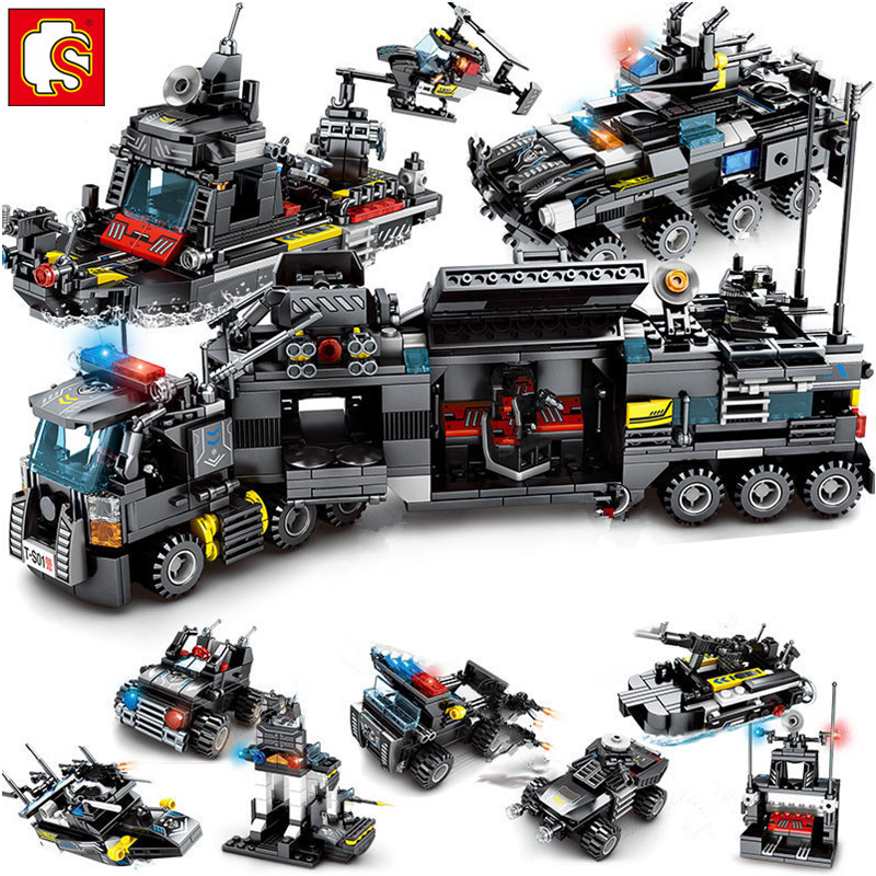 8Pcs/lot 695Pcs City Police SWAT Truck Building Blocks Sets Ship Vehicle LegoINGs Technic DIY Bricks Playmobil Toys for Children