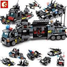 8Pcs/lot 695Pcs City Police SWAT Truck Building Blocks Sets Ship Vehicle Technic Bricks Brinquedos Educational Toys Sembo Block