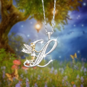 Berbeny Crystal 26 letter necklace Flower Fairy Necklaces Women Fairy Wing Pendant Initial Necklace Jewelry Christmas Gifts