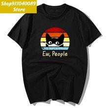 Забавные футболки в японском стиле с принтом черного кота и