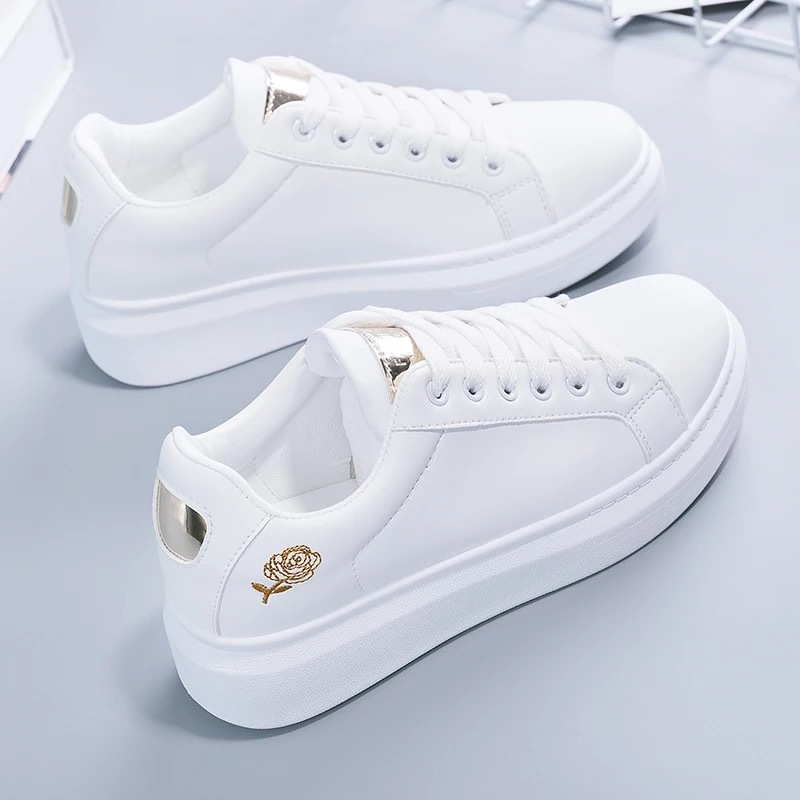 2021 New Spring Tenis Feminino Lace up White Shoes Woman PU Leather Solid Color Female Shoes Casual Women Shoes Sneakers