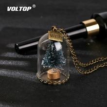 Luminous Weihnachten Baum Schlüssel Kette Auto Ornamente Glas Flasche Schneeflocke Schlüssel Ring Auto Anhänger Halskette Mode Zubehör