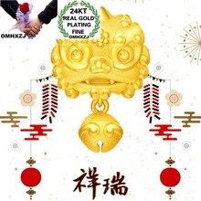 OMHXZJ-colgante de oro de 24KT con campanas de León para hombre y mujer, joyería de moda europea CA391, regalo de cumpleaños y boda