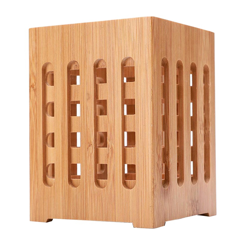 Square Wood Kitchenware Tube Chopsticks Box Container Kitchen Utensil Set Holder Shelf Food Storage Containers Food Storage