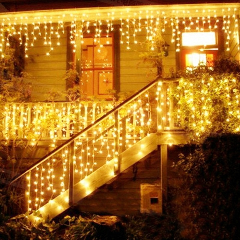 4*0.6M 96Leds Curtain Fairy Light String Window Eaves Droop Icicle String Lights Wedding Christmas Home Party Garden Park Decor