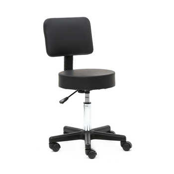 Round Shape Plastic Adjustable Salon Stool with Back Black Suitable for any environment, such as salon, home and office