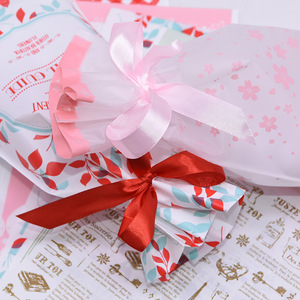 Image 4 - 5pcs Merry Christmas Candy Bag Plastic Drawstring Bags Silk Ribbon For Birthday Wedding Party Decora Kids Gift Wrapping Supplies