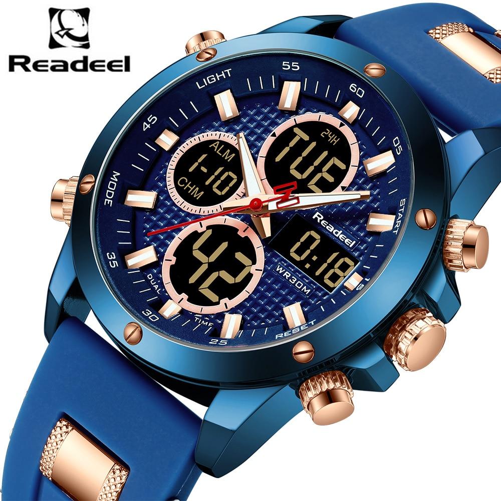 Luxo Marca Relógios Men Quartz Digital Led Sports Relógios Dupla Afixação dos homens Do Exército Militar Relógio Masculino Relógio Relogio masculino