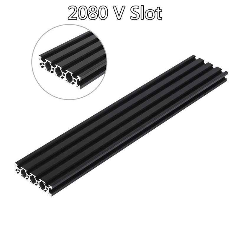 200-1000mm Black 2080 V-Slot Aluminum Profile Extrusion Frame For CNC Laser Engraving Machine Tool Woodworking DIY