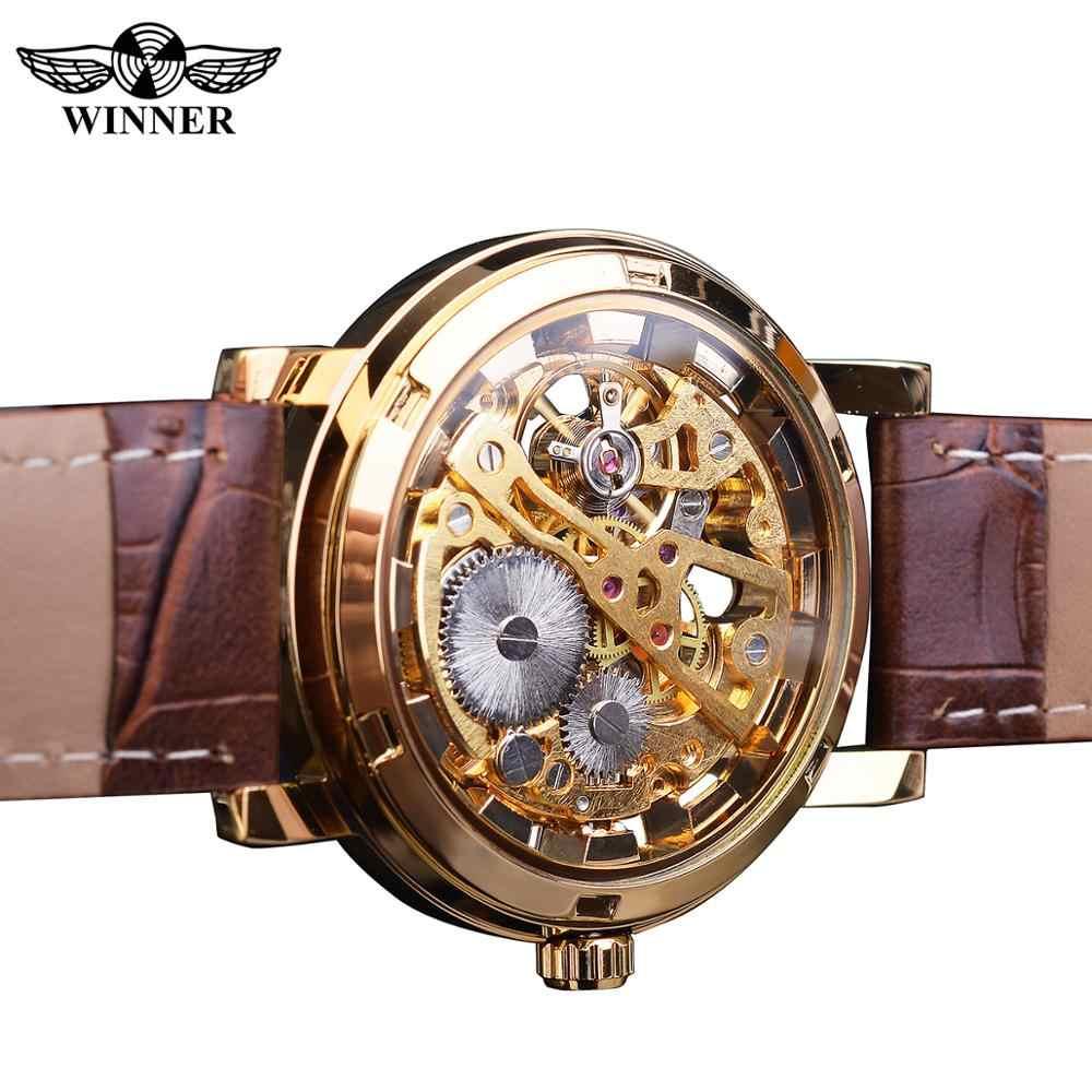 Kazanan şeffaf altın kasa lüks rahat tasarım kahverengi deri kayış erkek saatler Top marka lüks mekanik iskelet saat
