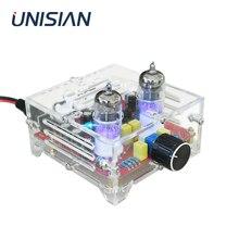 UNISIAN 6J1 carte de préamplificateur de tube à vide HIFI préampli de tampon de bile électronique avec boîte acrylique AC12V pour amplificateur