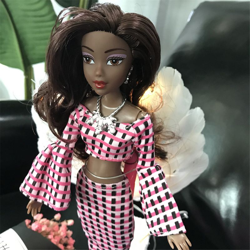 Toy African doll American Doll Accessories Body Joints Can Change Head Foot Move African Black Girl Gift Pretend Toy Baby