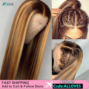 Allove Honey Blonde Lace Front Wigs Highlight Brown Ombre Human Hair Wig 13X6 Brazilian Straight Lace Front Human Hair Wigs(China)