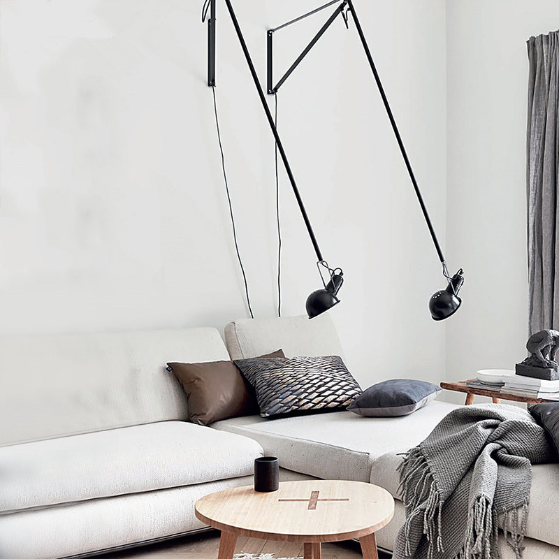 Image 4 - Artpad Modern Adjustable Long Swing Arm Wall Lamp Lights For Reading 360 Degree Rotatable Flexible Vintage Black Wall Lamp LED-in LED Indoor Wall Lamps from Lights & Lighting