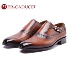 Zapatos monje hombre cuero genuino marca de lujo hecho a mano Vintage Retro Oficina Formal boda fiesta hombre vestido zapato