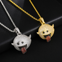 US7 Funny Spit Tongue Emoji Necklaces Pendants Iced Out Bling CZ Flying Ghost Pendant Necklace For Man Hip Hop Jewelry