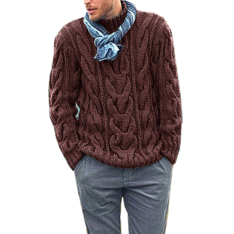 Winter Men's Clothing Brown Pullover Sweater Casual Soft  Comfortable Thick Warmer Sweater Coat Hand-knitted Cool Men's Sweater