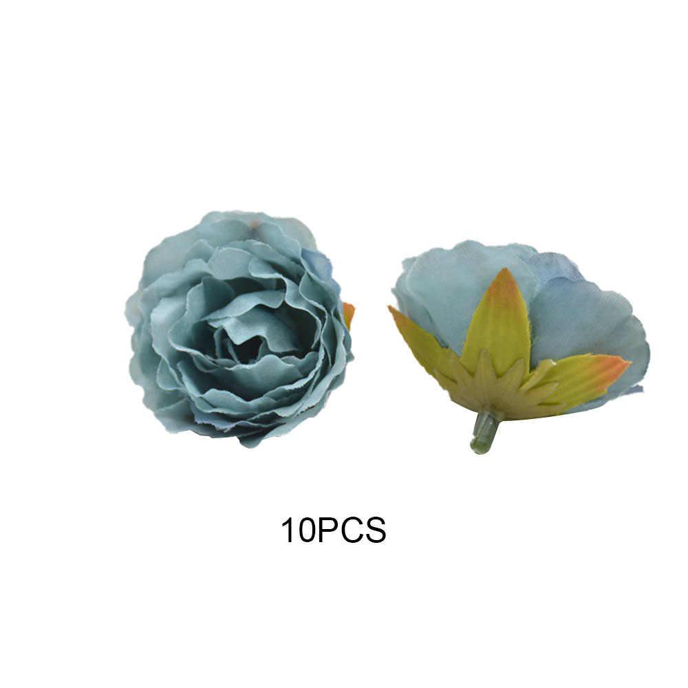 10 Pcs Mini Rose Peony Sutra Buatan Kepala Bunga Palsu Hiasan Dekorasi Rumah Bunga Kecil Bud Pernikahan Rumah Pesta Latar Belakang Dinding dekorasi
