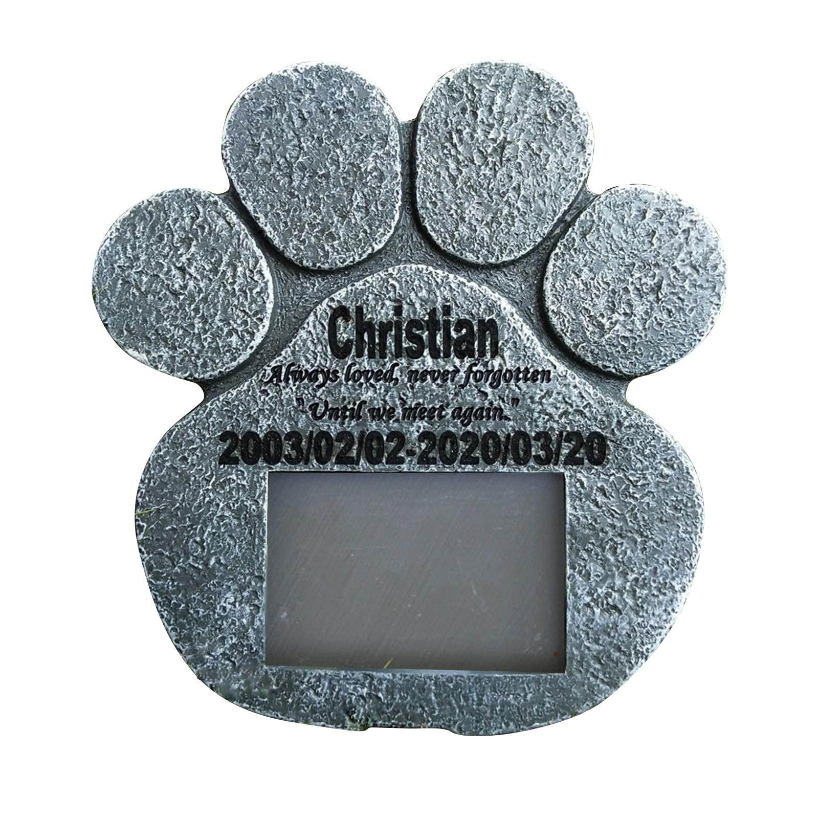 Personalized Pet Memorial Stone Indoor Outdoor For Garden Backyard Marker Loss Of Pet Gift Paw Print Pet Tombstone
