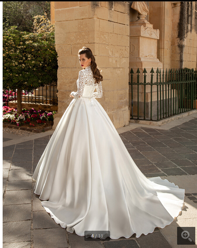 2020 Gorgeous White Lace Modest High Neck Long Sleeves Wedding Dress Ball Gowns Vintage Bridal Gowns Hot Sale