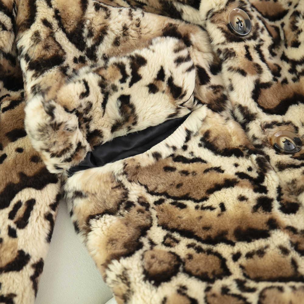 Gerçek rex tavşan kürk ceket kadınlar kış artı boyutu leopar baskı ile hakiki deri ceket maomaokong giysileri
