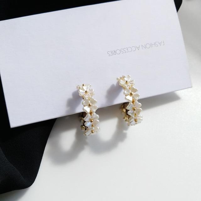 S925 agulha flor brincos moda jóias chapeamento de ouro branco resina hoop brincos feminino jóias menina estudante presentes para festa 5