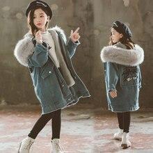 цена на 2019 big kids denim jacket large fur collar cotton denim outerwear Winter plus velvet thick jacket for girls children clothing