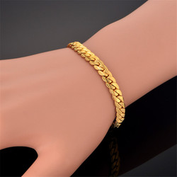 Gold Color Bracelet for Men Women Curb Snake Link Chain Stainless Steel Mens Womens Bracelets Chains Jewelry for Men