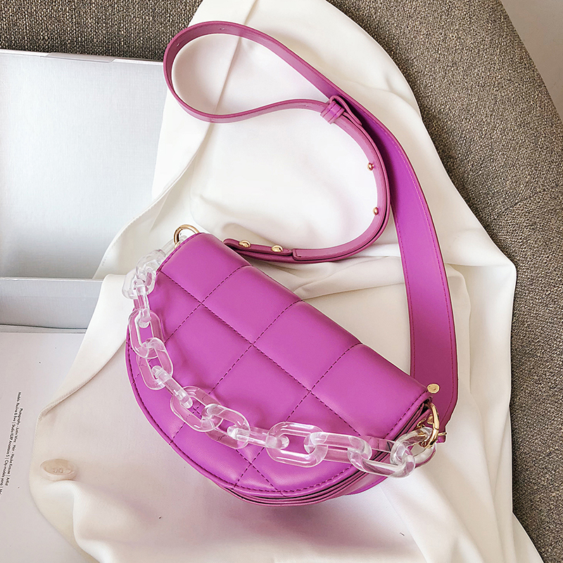 Lattice Saddle Bags Small Semicircle PU Leather Crossbody Bags For Women 2020 Female Transparent Acrylic Chain Shoulder Handbags