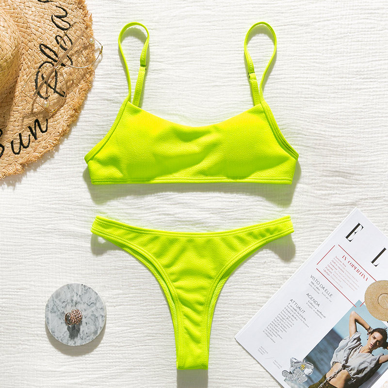 Peachtan Ribbed bikini set Neon biquinis Feminino 2019 swimwear Women bathers Woman swimsuit Female Thong bandeau bathing suit