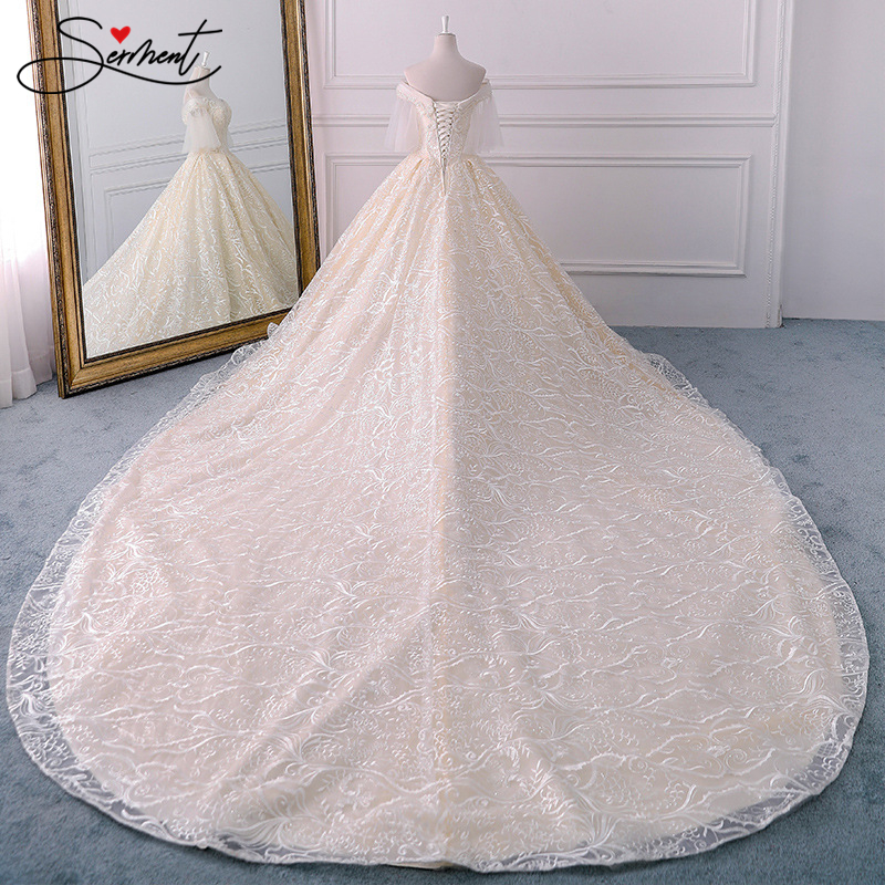 Lace Pearl Champagne Pattern Wedding Dress Luxury Off The Shoulder Boat Neck Lace Up Garden Church Wedding  Plus Size