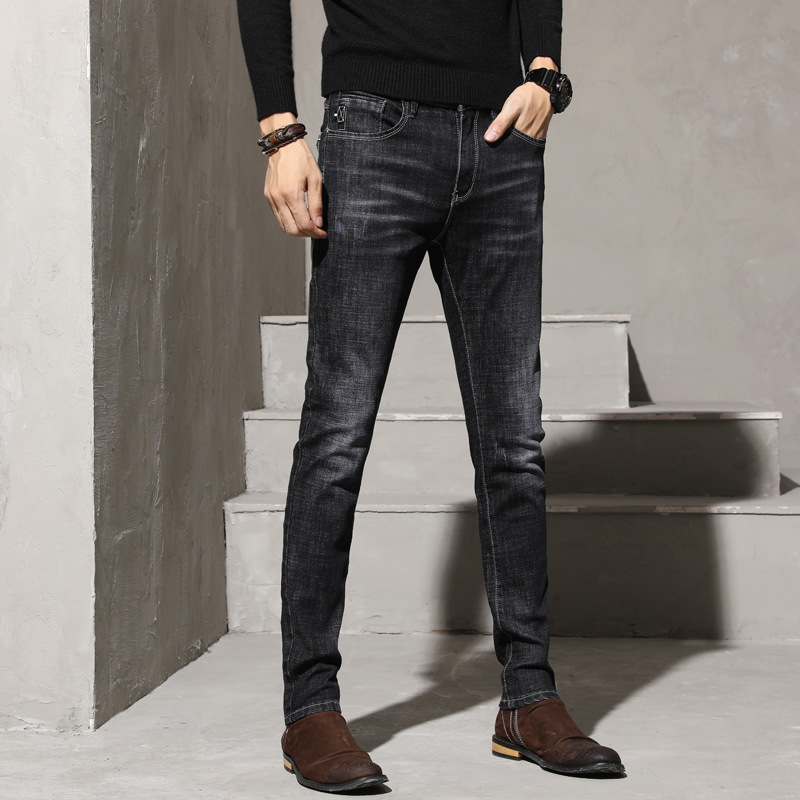 Spring And Autumn New Style Jeans Men's Casual Slim Fit Elasticity Men's Skinny Pants Korean-style Trend Youth Black And White W