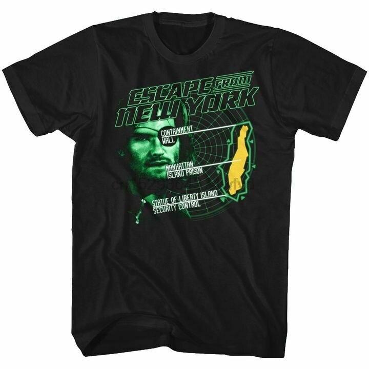 Escape From New York Mens Short Sleeve T-Shirt Black Radar Snake Graphic Tee(China)