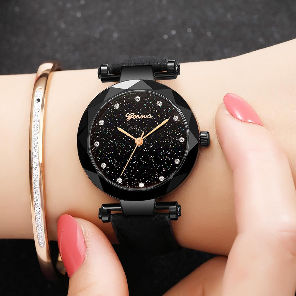 Women Watches Geneva Brand Starry Sky Dial Ladies Fashion Quartz Wristwatch Simple Leather Strap Clock Casual Reloj Mujer @50