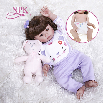 NPK 48CM Lovely real touch full body girl gift slicone bebe doll reborn babies  Bath toy Anatomically Correct