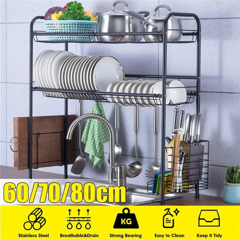 Noir 60/70/80cm en acier inoxydable cuisine égouttoir évier égouttoir un deux couches cuisine organisateur étagère support de stockage