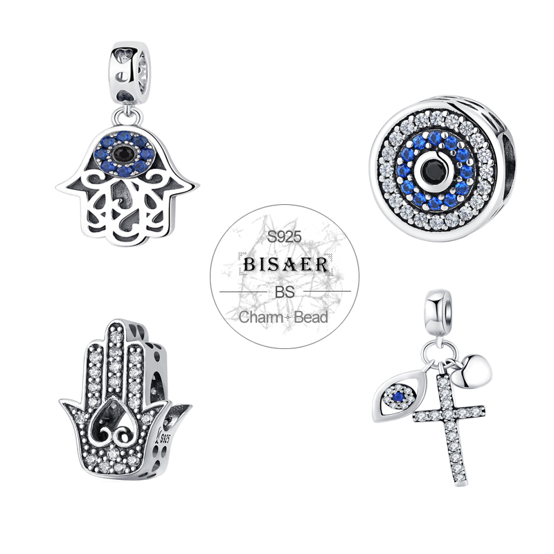 BISAER 925 Sterling Silver Charm Blue Eye Lucky Fatima Hand Hamsa Hand Eye Pendant Charm Fit PAN Charm Bracelet DIY Jewelry