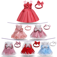 Vestido de princesa de la flor de la Navidad de las muchachas del bebé 3 6 12 18 24 meses vestido de fiesta de la boda del cumpleaños ropa de bautizo del recién nacido