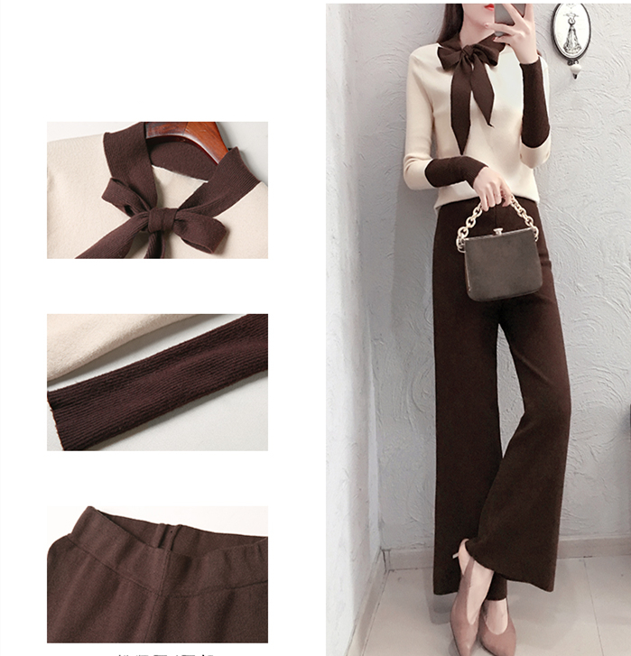 2019 Autumn Winter Knitted 2 Piece Sets Outfits Women Lace-up Sweater Pullover And Wide Leg Pants Suits Elegant Korean Sets 25