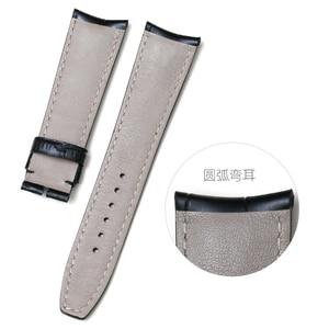 Image 2 - Pesno jacaré grão bezerro pele couro genuíno relógio de pulso banda 20mm 21mm pulseira relógio masculino para baume & mercie