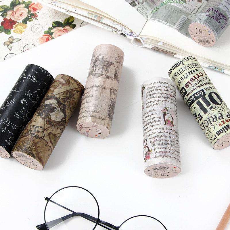 Retro English Newspaper Washi Tape Vintage Wide Masking Tape Decorative Adhesive Tape Sticker Scrapbooking Diary Stationery