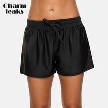 Charmleaks Women Swimming Shorts Loose Fit Solid Color Bikini Bottom Strappy Swimwear Briefs Boy Trunks