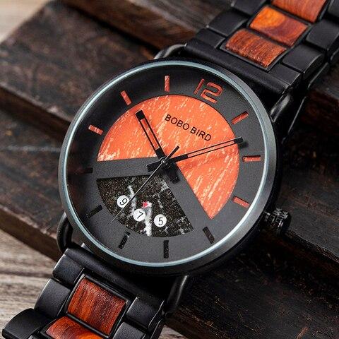 Saat erkek Wooden Watches Men Wristwatch Quartz Clock BOBO BIRD Show date Gift in Wood Box in Wood Box Customize Logo Karachi