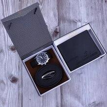 New Men Fashion Gift Set Box Man Business Watch Leather wall
