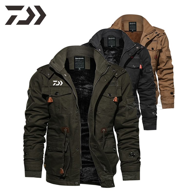 Daiwa Jacket Men Winter Fishing Clothes Hooded Multi-pocket Warm Thicken Solid Fishing Shirts Men's Outdoor Clothing Fishing