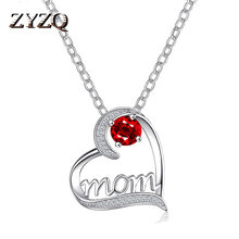 Zyzq nova mãe coração colar simples amor carta colar pingente para o dia das mães presente