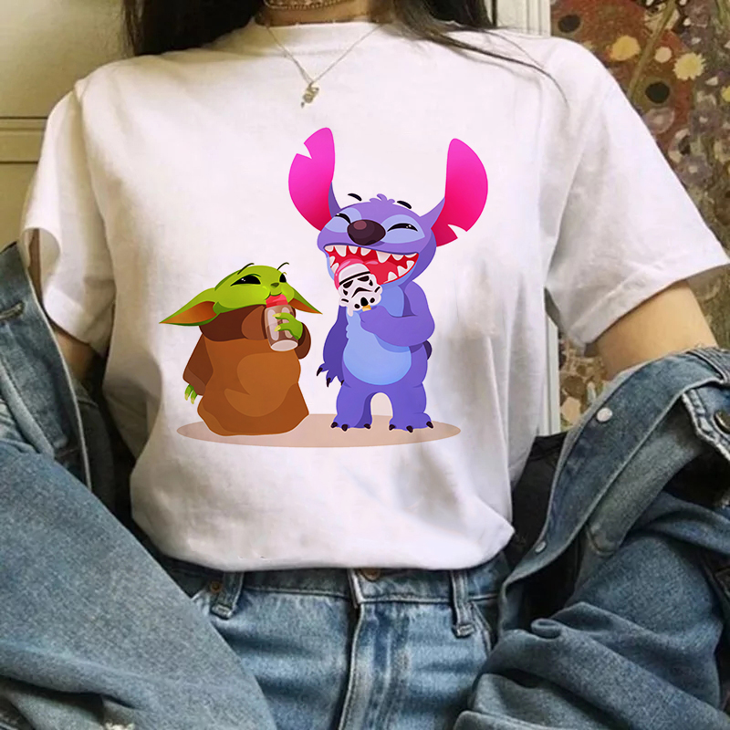 Baby Yoda And Stitch Vintage Summer New Tops Aesthetic Harajuku T Shirt Graphic Fashion Tees Kawaii Korean Style Women Clothes image